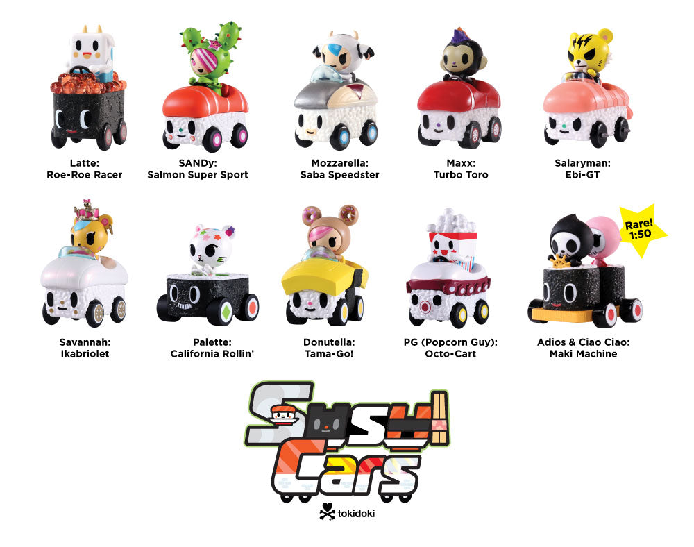Sushi Cars Blind Box figures with names
