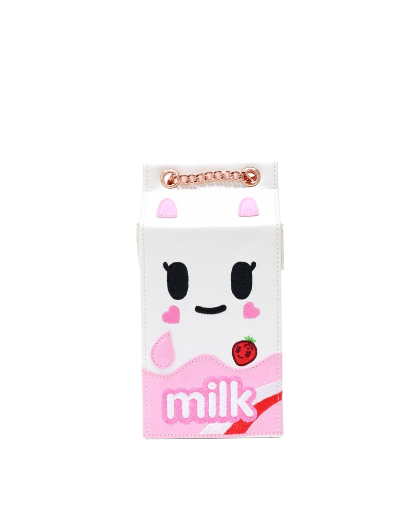 Camo Kawaii Strawberry Milk Carton Handbag front