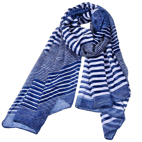 Striped Print  Long Cotton Scarf - SMPL Goods