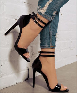 Patent Leather Double Buckle High Heel