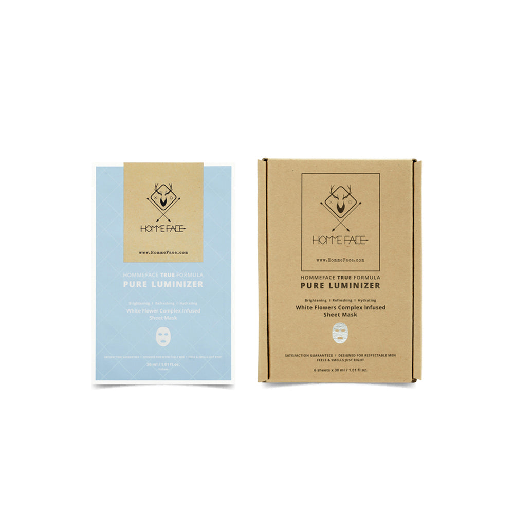 HOMMEFACE Pure Luminizer Sheet Mask set hydrates & brightens skin with a blend of botanical extracts for a more dewy, radiant & luminous glow. Made for men, for all skin types. Gifts for him this holiday season. Black Friday Cyber Monday deals.
