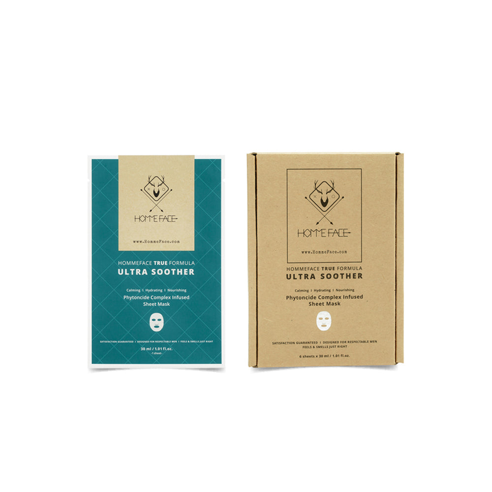 HOMMEFACE Ultra Soother facial sheet mask set for men calms irritated and sensitive skin with a nutrient-rich complex that soothes, protects, and heals. Paraben free and cruelty free. Gifts for him this holiday season. Black Friday Cyber Monday deals.