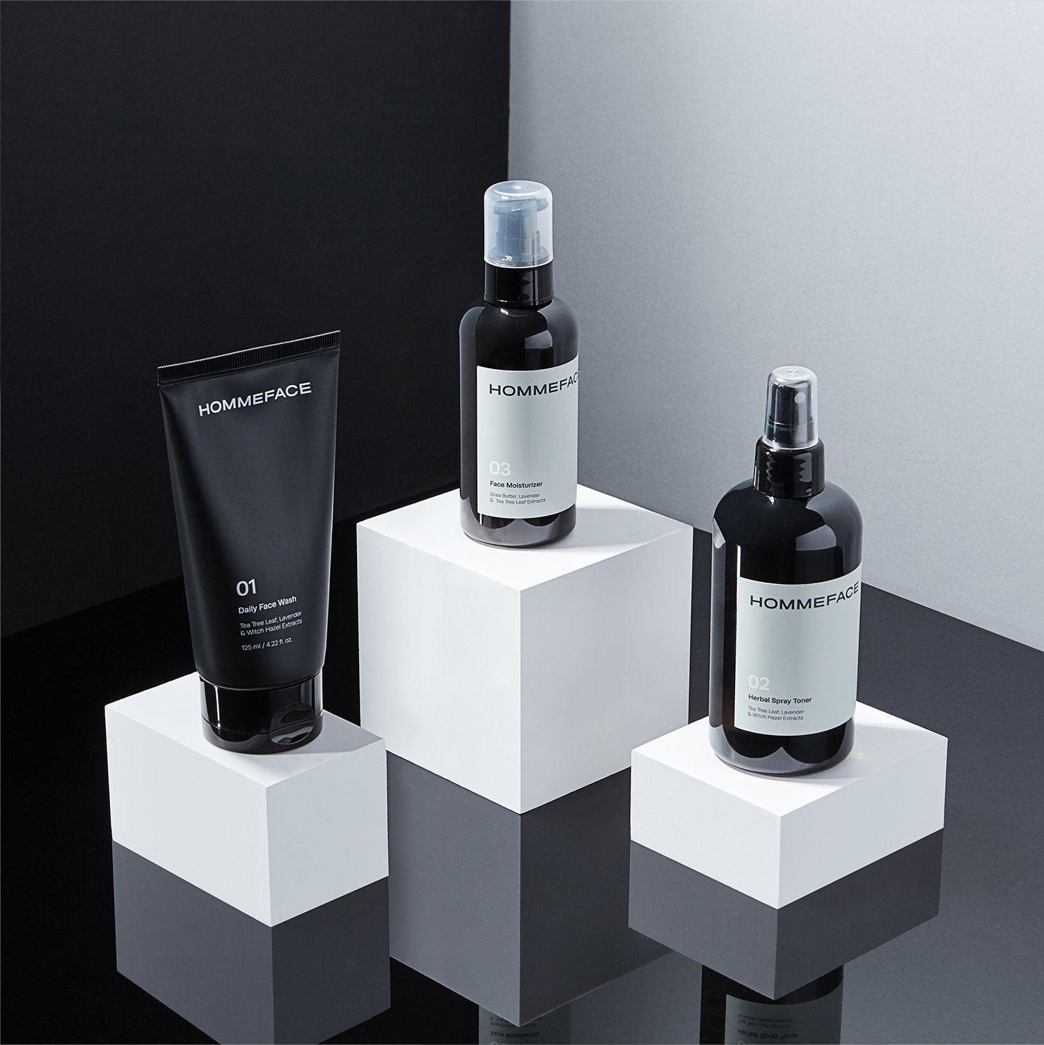 HOMMEFACE Daily Trio Set is a 3 step skincare kit for men. Set includes daily face wash, herbal spray facial toner, and face moisturizer. For all skin types, vegan, natural, alcohol-free, cruelty-free, and made without harsh chemicals. Great gifts for him.