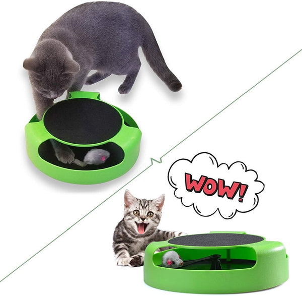 MESNUG 2 In1 Cat Toys Interactive With Running Mice And Scratching Pad Durable Safe Kitten Cat Game Exercise No Battery Needed