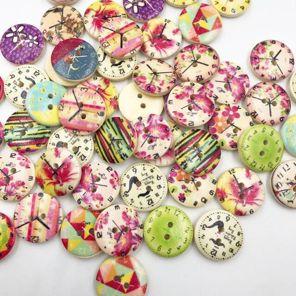 50pcs 20 mm Mix Style Sewing 2 holes Wooden Buttons Fit Sewing and Scrapbook