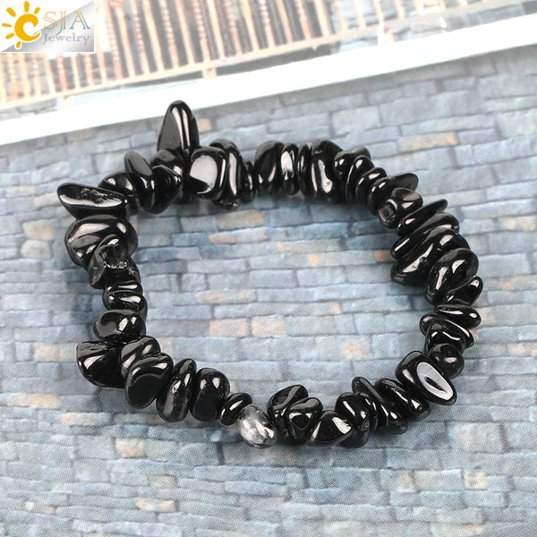 Natural Gem Stone Chip Beads Chakra Black Tourmaline Bracelets for Women Small Size Reiki Healing Meditation Aura