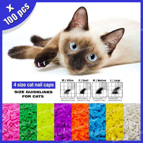 100pcs / lot Cat Nail Caps Soft Nail Protector with free 5x Adhesive Glue + 5x Applicator