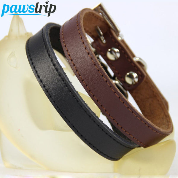 Genuine Leather Dog Collar Simple Design Durable Chihuahua Small Dog Collar Adjustable Cat Collar