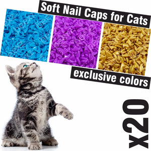 20pcs - Soft Nail Caps for Cats + 1x Adhesive Glue + 1x Applicator /* XS, S, M, L, cover, cat, paw, claw, zep */