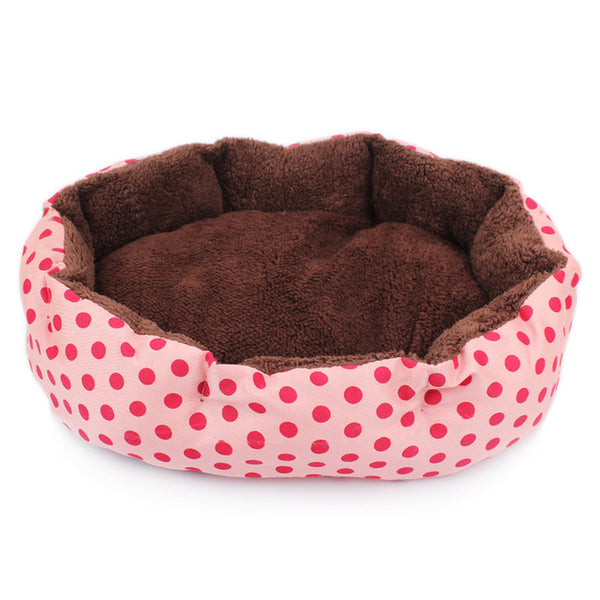 Warm Dog Bed Soft Fleece Dot Design With Removable Pet Mat