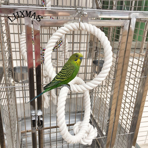 Big Parrot Toy Bird Cage Toy Parrot Swing Ring Toy White Color Bird Supplies T006