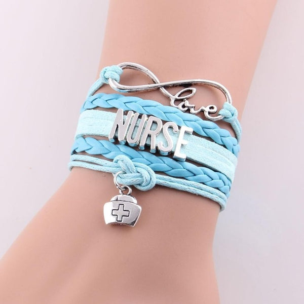 Infinity love NURSE Bracelet nurse hat charm leather wrap men & women jewelry