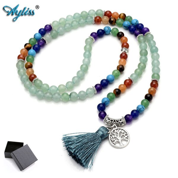 1pc Newest 6mm Natural 7 Chakra Healing Crystal Gem Stone Buddhist Prayer 108 Beads Tibetan Mala Bracelet Necklace Tassel