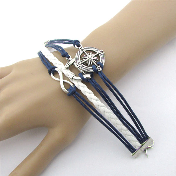 Hot Infinity Love Anchor Compass Leather Charm Bracelet Plated Silver