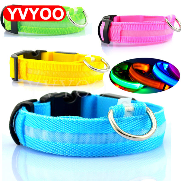 Nylon Pet Dog Collar LED Light Night Safety Light-up Flash Glowing in Dark Cat Collar LED Dog Collars Small Dogs Dog Accessories