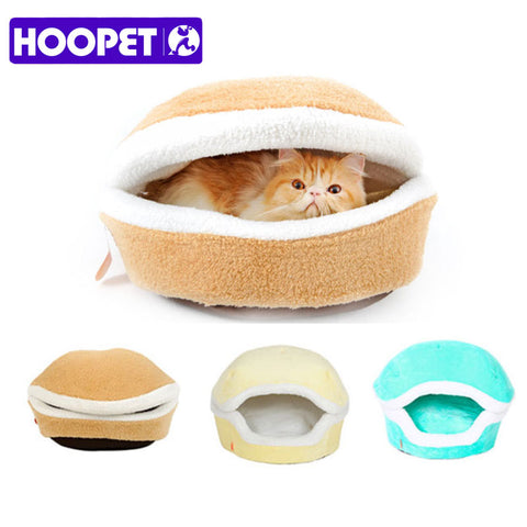 Warm Cat Bed House Hamburger Bed Disassemblability Windproof Burger Bun