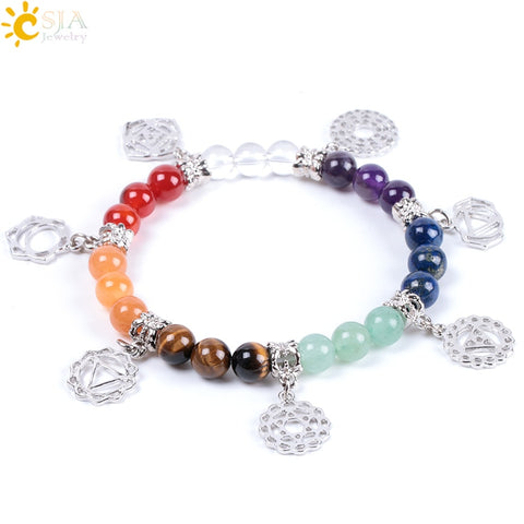 New Hot 8mm 7 Chakra Bracelet Healing Balance Energy Beads Prayer Natural Stone Yoga Bracelets Charm for Women Jewelry