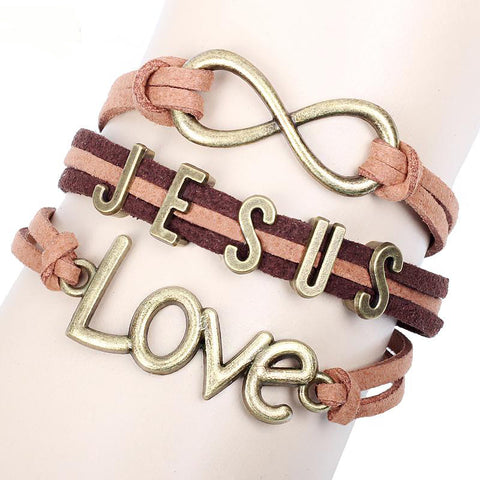 Infinity Charm Bracelets JESUS LOVE  Bracelets Multi Layer Braided Leather Handmade Combination Pattern Colorful Charm Bracelets