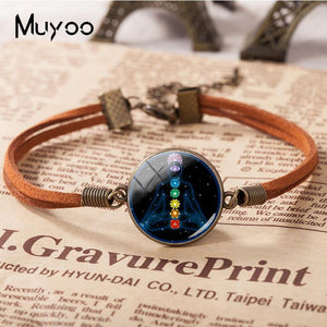 New 7 Chakra Reiki Healing Bracelets Buddha Yoga Meditation Leather Bracelet Glass Cabchon Jewelry