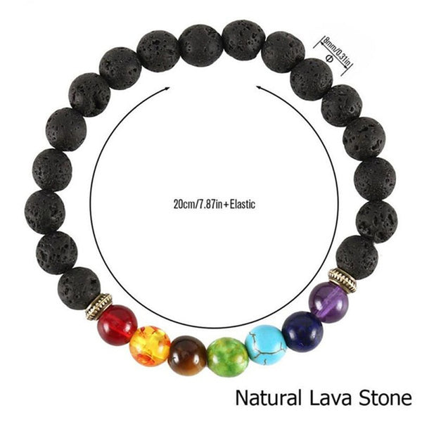 7 Chakra Beaded Bracelet Men Natural Lava Stone Healing Balance Beads Reiki Buddha Prayer Yoga Diffuser Bracelet Women Jewelry