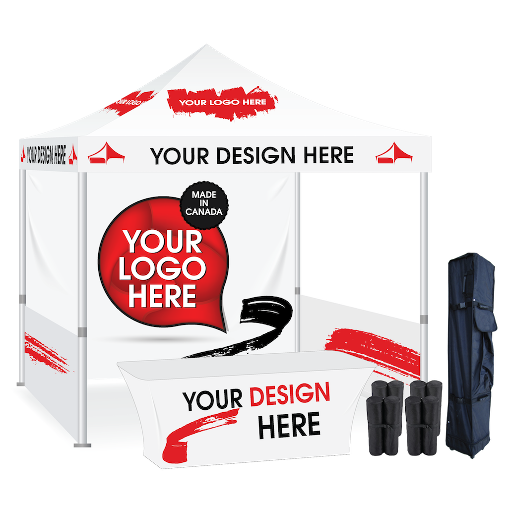 Advertising tent package with walls and table cover