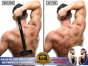 Back Shaver Razor for Men - Do It Yourself Waterproof Body Groom (Guide Book and Bonus Back Scrubber included) - Shavermen