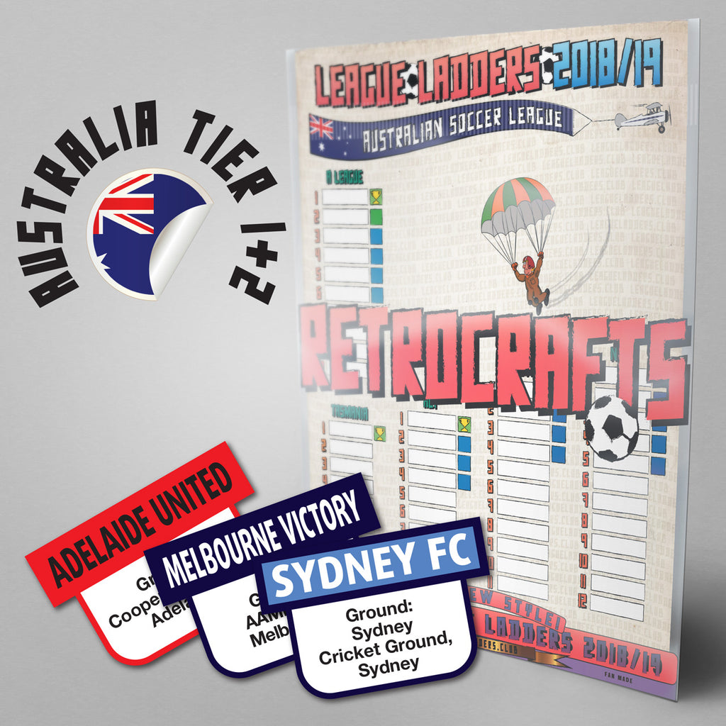 Australian Soccer League - A League plus all 8 National Premier Leagues - Tiers 1 & 2 2018/2019 Season League Ladders - NEW!