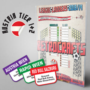 Austria Football League Bundesliga and 2. Liga Tiers 1-2 2018/2019 Season League Ladders - NEW!
