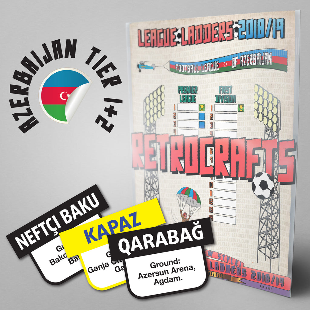 Azerbaijan Football League Premier League and First Division Tiers 1-2 2018/2019 Season League Ladders - NEW!