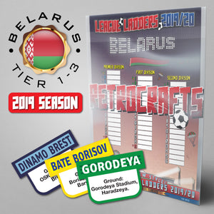 Belarus Football League Premier League, First League and Second League Tiers 1-3 2019 Season League Ladders