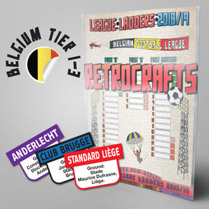 Belgian Football League First Division 'A', First Division 'B' and First Division Amateur Tiers 1-3 2018/2019 Season League Ladders - NEW!