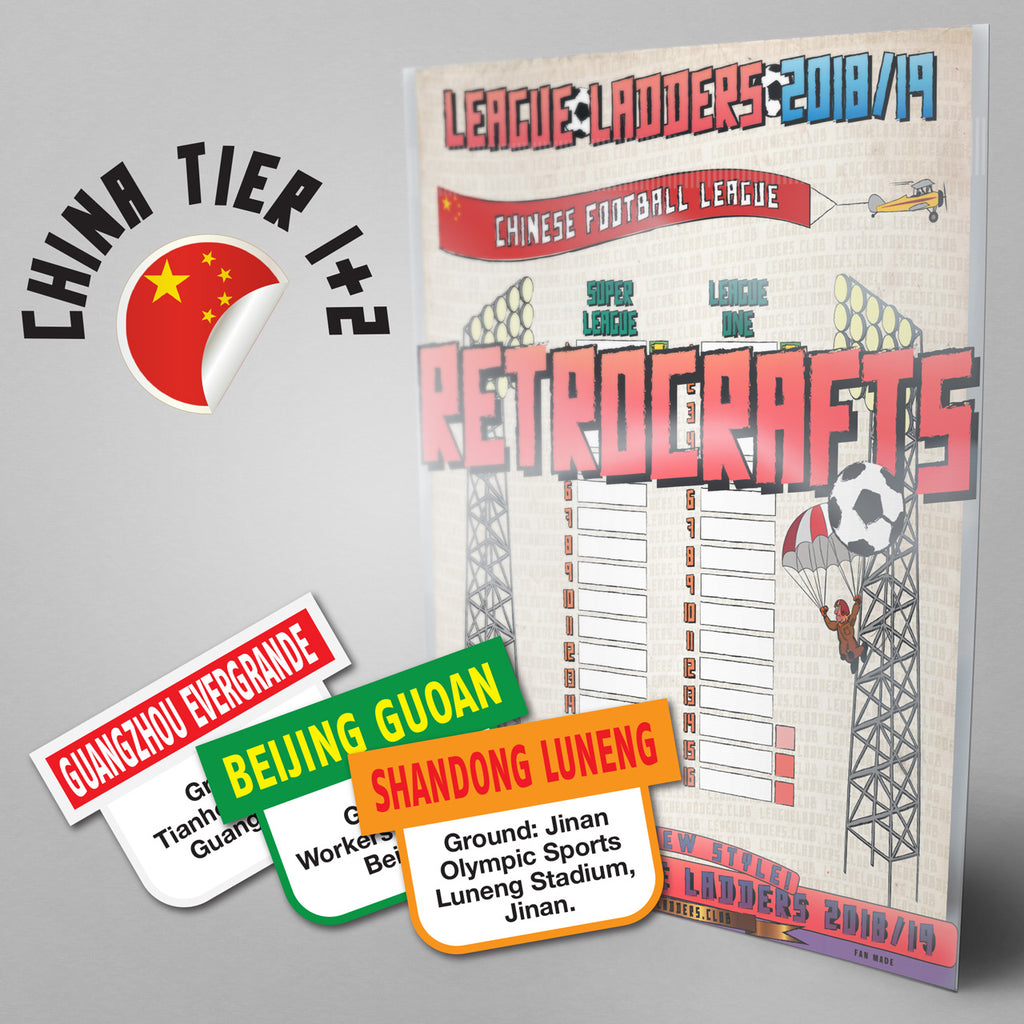 China Football League Super League and League One Tiers 1-2 2018 Season League Ladders - NEW!