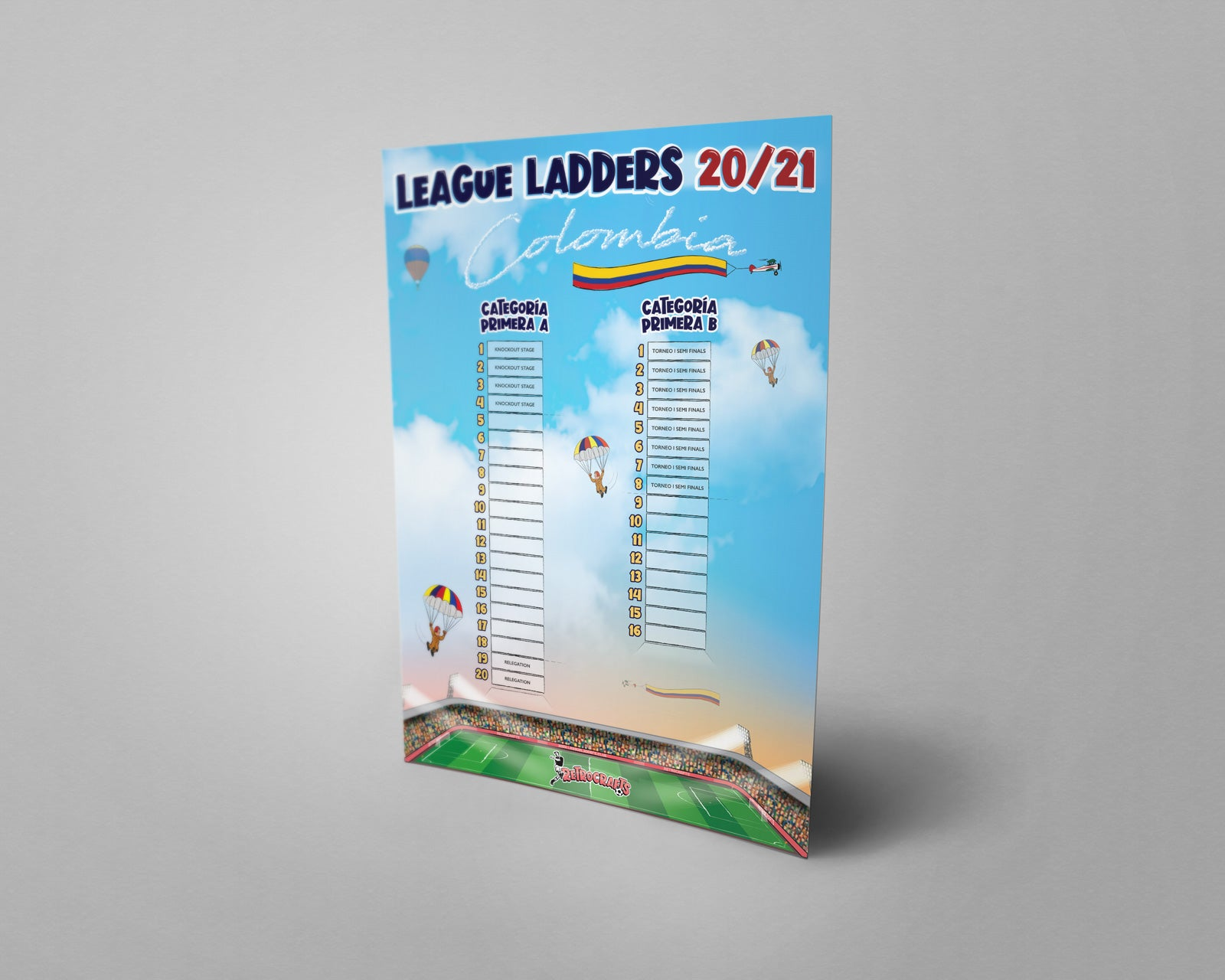 Colombia Football League Categoría Primera A and Categoría Primera B Tiers 1 & 2 2020 Season League Ladders
