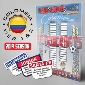 Colombia Football League Primera A and Primera B Tiers 1-2 2019 Season League Ladders