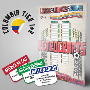 Colombia Football League Primera A and Primera B Tiers 1-2 2018 Season League Ladders - NEW!