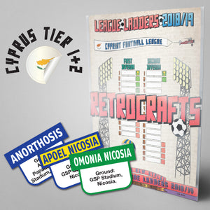 Cyprus Football League 1st and 2nd Divisions Tiers 1-2 2018/2019 Season League Ladders - NEW!