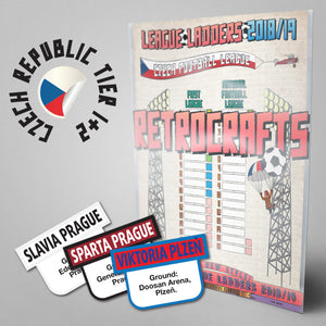 Czech Republic Football League First League and National League Tiers 1-2 2018/2019 Season League Ladders - NEW!