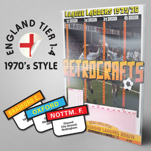1970's Style English Football League Tiers 1-4 2018/2019 Season League Ladders - NEW!