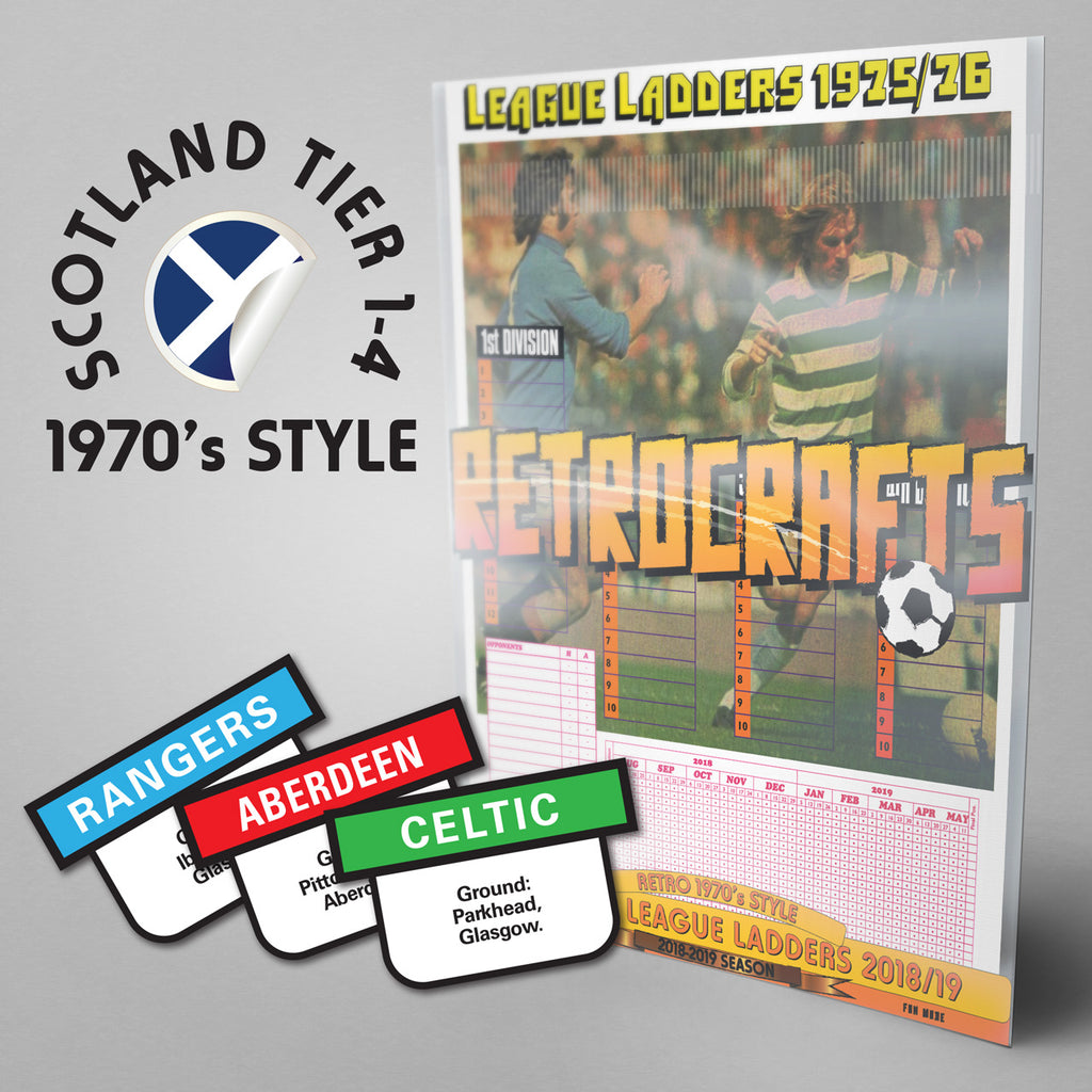 1970's Style Scottish Football League Tiers 1-4 2018/2019 Season League Ladders - NEW!
