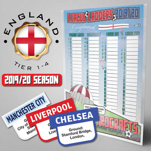 English Football League Tiers 1-4 2019/2020 Season League Ladders Continental Edition