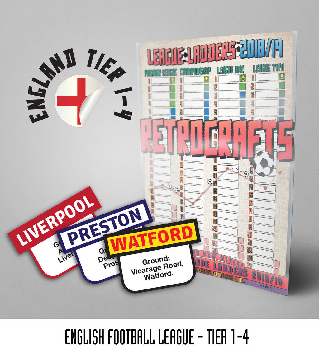 English Football League Tiers 1-4 2018/2019 Season League Ladders - NEW!