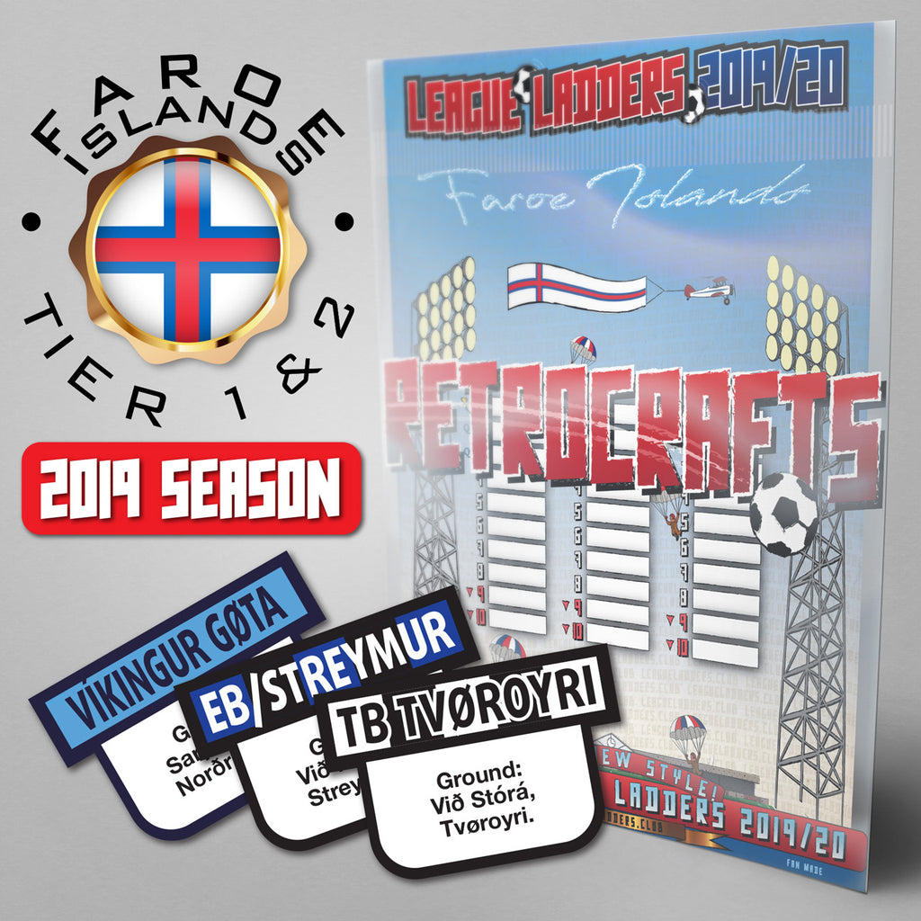Faroe Islands Football League Meistaradeildin, 1.Deild and 2.Deild Tiers 1-3 2019 Season League Ladders