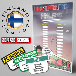 Finland Football League Veikkausliiga and Ykkönen Tiers 1-2 2019 Season League Ladders