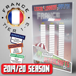 France Football League Ligue 1, Ligue 2, Championnat National Tiers 1-3 2019 Season League Ladders