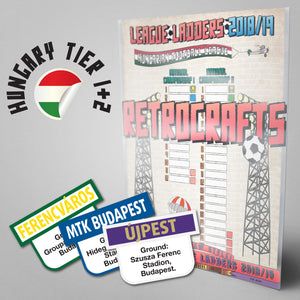 Hungary Football League National Championship I and II Tiers 1-2 2018/2019 Season League Ladders