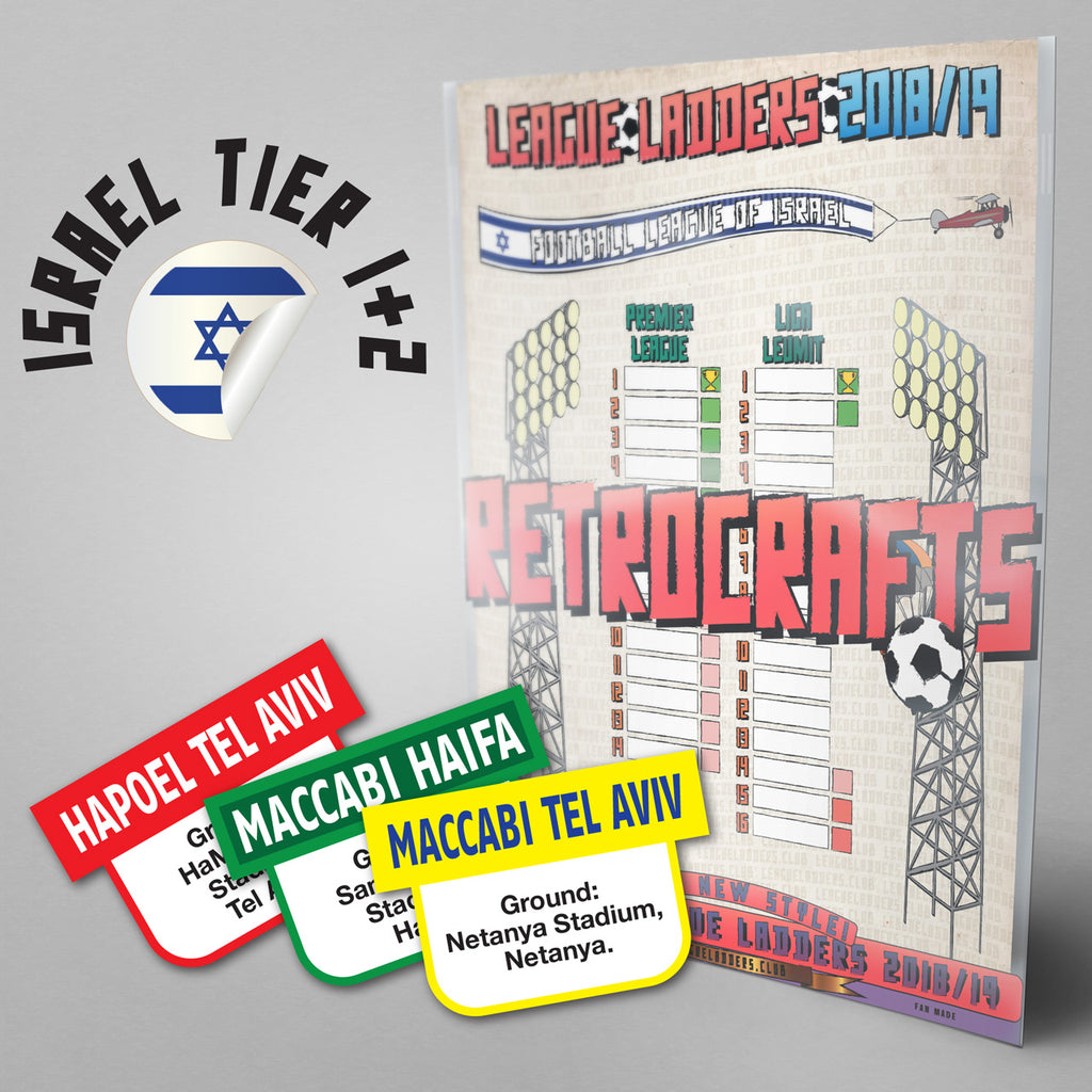 Israel Football League Premier League and Liga Leumit 2018/2019 Season League Ladders - NEW!