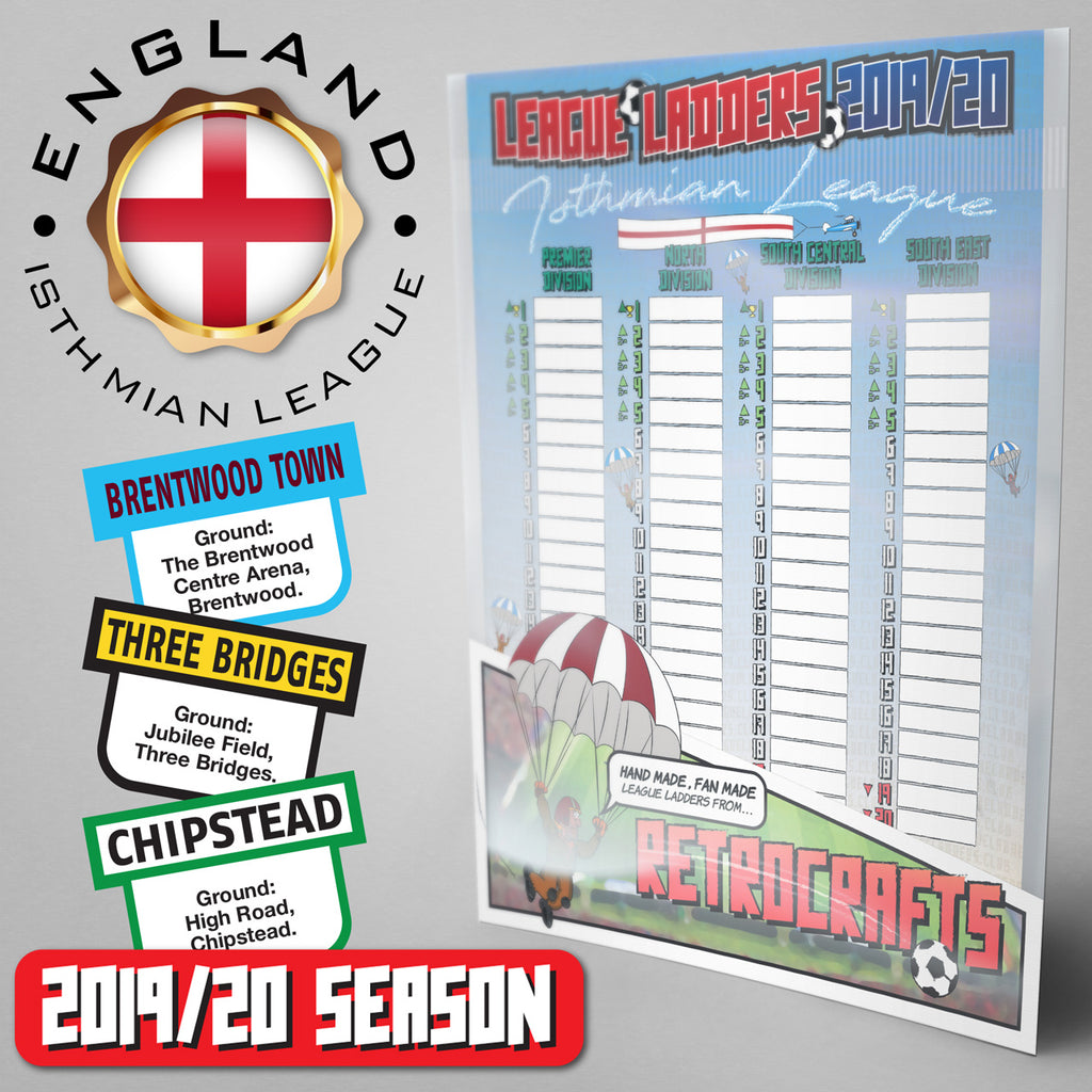 Isthmian League Steps 3&4 2019/2020 Season League Ladders