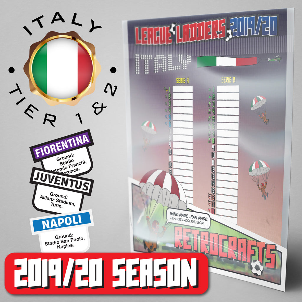 Italy Football League Serie A and Serie B Tiers 1 & 2 2019 Season League Ladders