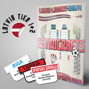 Latvia Football League Higher League and First League Tiers 1-2 2018/2019 Season League Ladders - NEW!