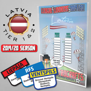Latvia Football League Higher League and First League Tiers 1-2 2019 Season League Ladders